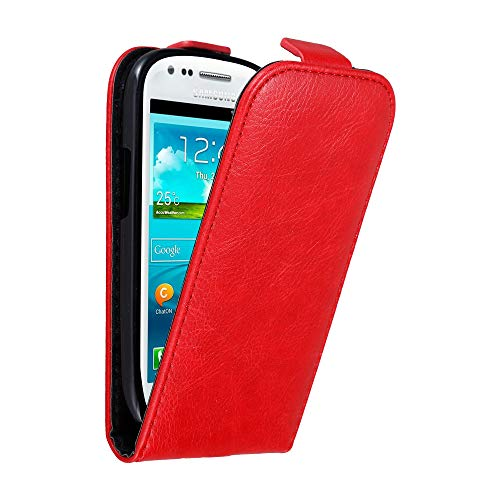 Cadorabo Case Works with Samsung Galaxy S3 Mini in Apple RED - Flip Style Case with Invisible Magnetic Closure - Wallet Etui Cover Pouch PU Leather Flip (Galaxy S3 Flip Case Yellow)