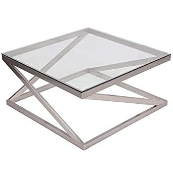 Image of Home and Kitchen Signature Design by Ashley – Coylin Square Glass Coffee Table, Silver