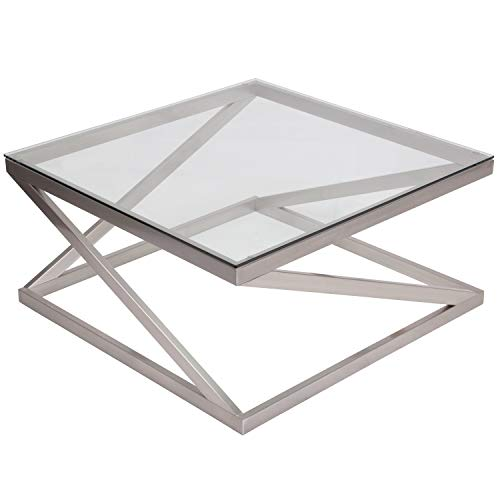 Signature Design by Ashley - Coylin Square Glass Coffee Table, Silver (Mesa Mission Table Lamp)