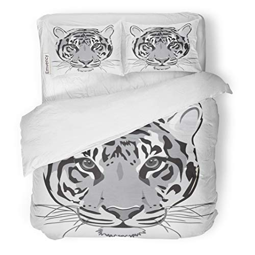 Semtomn Decor Duvet Cover Set Twin Size Face Tiger Black White Outline Lion Head Cat Cougar 3 Piece Brushed Microfiber Fabric Print Bedding Set Cover -