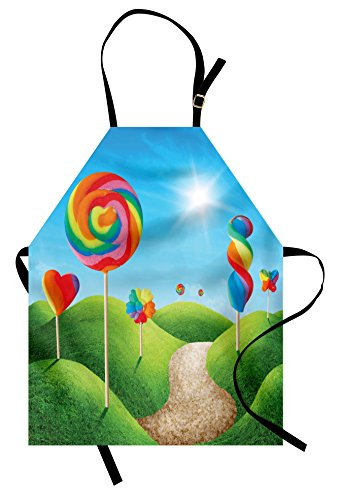 Ambesonne Fantasy Apron, Fantasy Candy Land with Delicious Lollipops and Sweets Sun Cheerful Fun Print, Unisex Kitchen Bib Apron with Adjustable Neck for Cooking Baking Gardening, Green Blue -