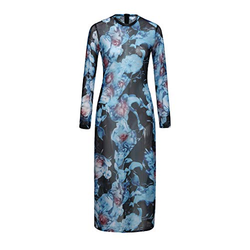Women's Perspective Smock Dresses Floral Printed Bohemia Wrist Sleeve O-Neck Muslin Sundress Voile Zipper Long Dress Blue ()