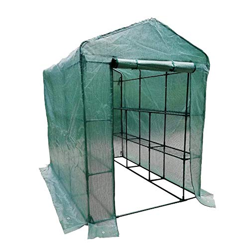 MTB Outdoor Portable Walk-in Garden The Greenhouse 2 Tiers 12 Shelves with UV Resistant PE Cover – 84″ Lx56 Wx77 H