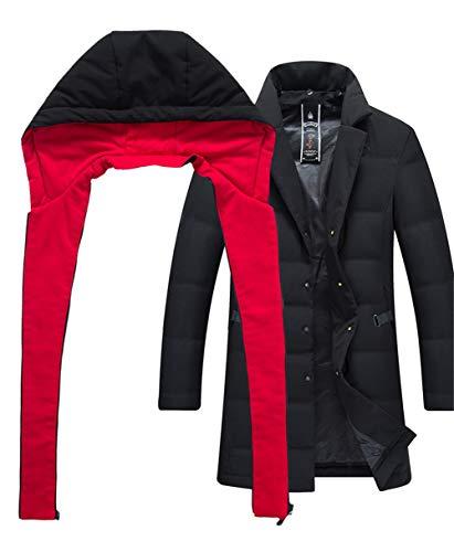 Piumino Piumino Antivento red da Uomo Lungo Invernale Caldo con Cappotto Casual Cappuccio Kitrack Capospalla Tzwd7T