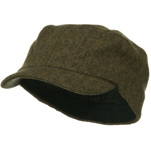 Wool Fashion Fitted Engineer Cap-Brown OSFM (Railroad Wool Hat)