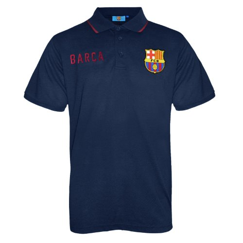FC Barcelona Official Football Soccer Gift Mens Crest Polo Shirt Navy Blue Small