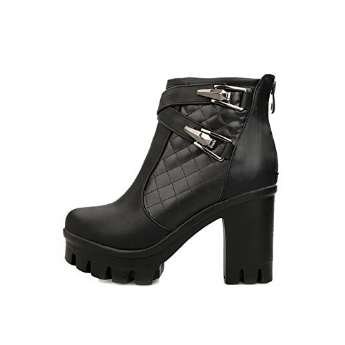 Solid Heels top Women's Round Black Material Closed Boots Soft Toe High Allhqfashion Low R64vavqw