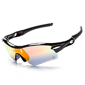 HAOYUXIANG Deportes Al Aire Libre Polarized Riding Windproof Glasses,Black