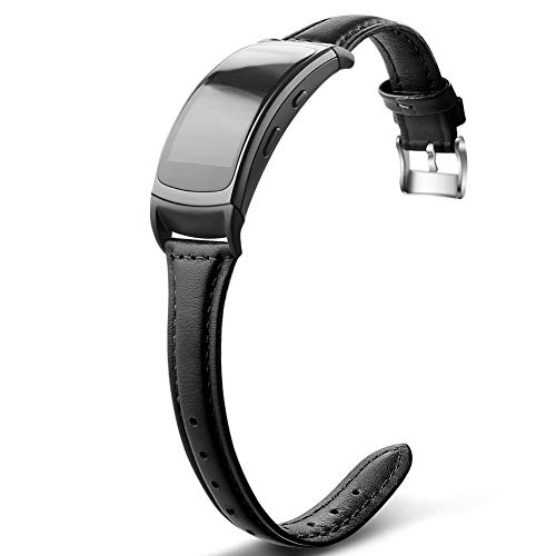 OenFoto Compatible with Gear Fit2 Pro/Fit2 Band, Replacement Leather Accessories Strap Samsung Gear Fit2 Pro SM-R365/Gear Fit2 SM-R360 Smartwatch-Black-Small