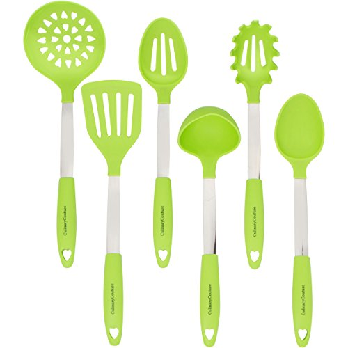 Lime Green Kitchen Utensil Set - Stainless Steel & Silicone Heat Resistant Professional Cooking Tools - Spatula, Mixing & Slotted Spoon, Ladle, Pasta Fork Server, Drainer - Bonus Ebook!