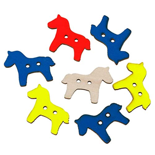 Mercury_Group, Sewing Buttons - Wood Sewing Button Scrapbooking Horse at Random Two Holes 29mm x 23mm,50 PCs New ()