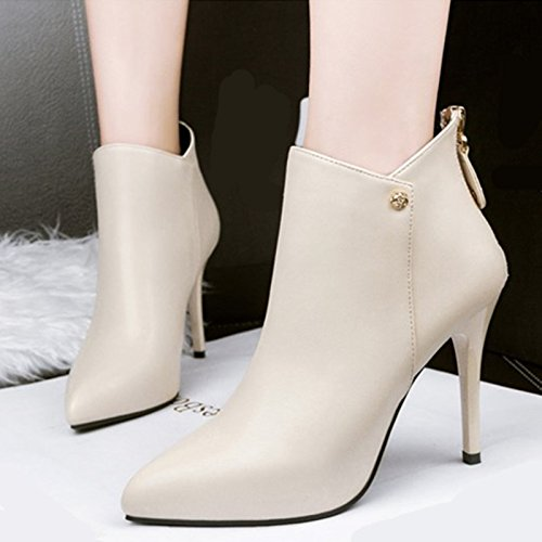 GTVERNH-Autumn And Winter New Martin Boots Short Boots High Heels Sharp Heel Waterproofing Simple Fashion Women'S Shoes Rice white vQAvt6ODoD