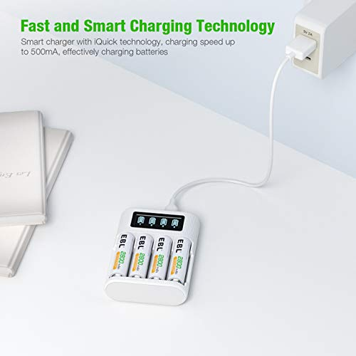 EBL LCD AA Battery Charger for AA AAA Rechargeable Batteries with Type C and Micro USB Input, AA AAA Battery Charger with 4 Independent Slots