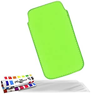 """Funda LG OPTIMUS L5 II ( L5 2 ) [""""Le Sweep""""] [Verde] de MUZZANO + 3 Pelliculas de Pantalla """"UltraClear"""" + ESTILETE y PAÑO MUZZANO REGALADOS - La Protección Antigolpes ULTIMA, ELEGANTE Y DURADERA para su LG OPTIMUS L5 II ( L5 2 )"""