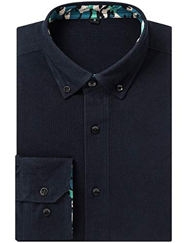 DOKKIA Men's Dress Button Down Cord Corduroy Long Sleeve Camp Shirts (Label XXL/Fits Like US XL, Black ()