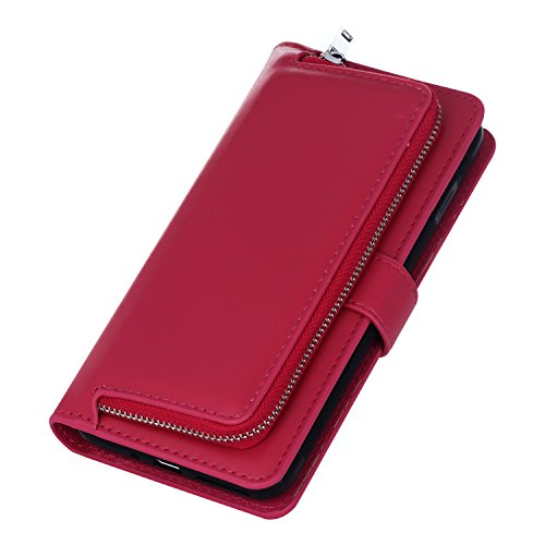 Case for Galaxy S6/S6 Edge Phone Cases Flip Leather Wallet [Slim Fit] Card Slots/Stand/360 Full Body Protective Cover (Rose Red, Galaxy S6 Edge 5.1