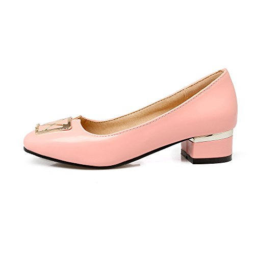 Heels Solid 41 Pull Pink Shoes On Women's Toe PU Low Square Pumps Odomolor qtFY7A
