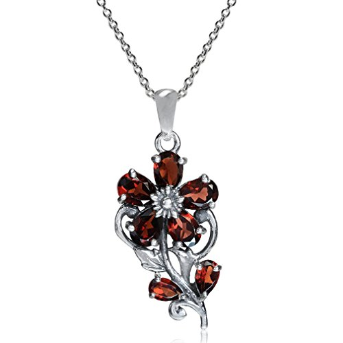 3.21ct. Natural Garnet 925 Sterling Silver Flower & Leaf Pendant w/ 18 Inch Chain Necklace