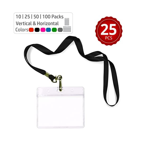 Durably Woven Lanyards & Horizontal ID Badge Holders ~Premium Quality, Waterproof & Dustproof ~ for Mums, Teachers, Tours, Events, Businesses, Cruises & More (25 Pack, Black) by Stationery King
