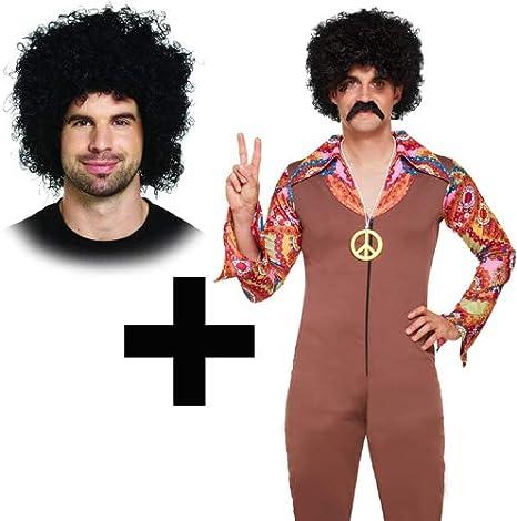 MFD Disfraz de Hippie para Hombre con Peluca Afro: Amazon.es ...