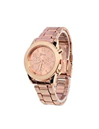 Baishitop Luxury Watch,Unisex Watches For Men Or Women,Stainless Steel Band(Rose Gold)