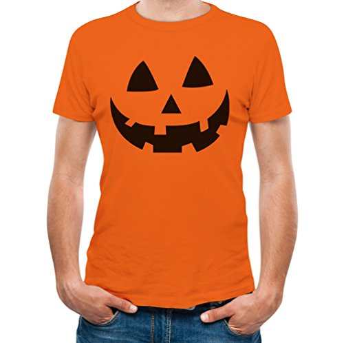 Jack O' Lantern - Smiling Pumpkin Face - Easy Halloween Costume Fun T-Shirt Medium Orange