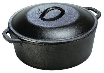 Lodge 5 Quart Cast Iron Dutch Oven. Pre-Seasoned Pot with Lid and Dual Loop Handle by Lodge (Image #1)