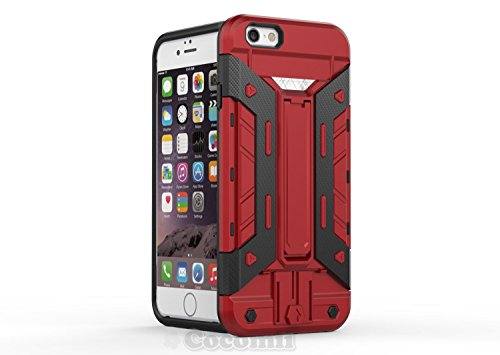iPhone 6S Plus / 6 Plus Case, Cocomii Transformer Armor NEW [Heavy Duty] Premium Built-in Multi Card Holder Kickstand Shockproof Hard Bumper Shell [Military Defender] Full Body Dual Layer Rugged Cover Apple (Red)