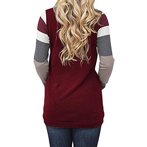 Longues Manches Femme Avec Hiver Sweat Pull Rouge Haut T À over Chic Vêtements Automne Cropped Top Capuche Blouse Casual Rayures shirt shirt Poche 1xYYw0qtZ