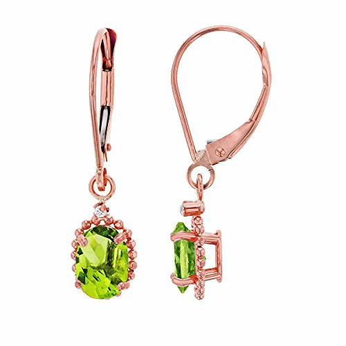 14K Rose Gold 1.25mm Round White Topaz & 6x4mm Oval Peridot Bead Frame Drop Leverback Earring