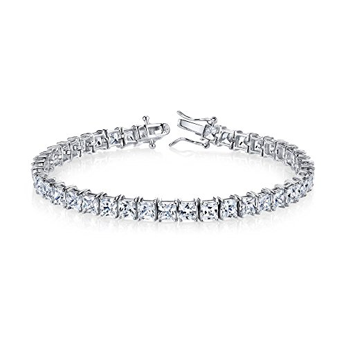 Sterling Silver 4mm Princess Cut Square Cubic Zirconia Diamond