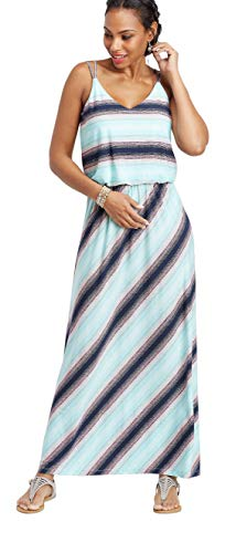 maurices Women's Stripe Flare V-Neck Maxi Dress Large Electric Iceberg Combo from maurices