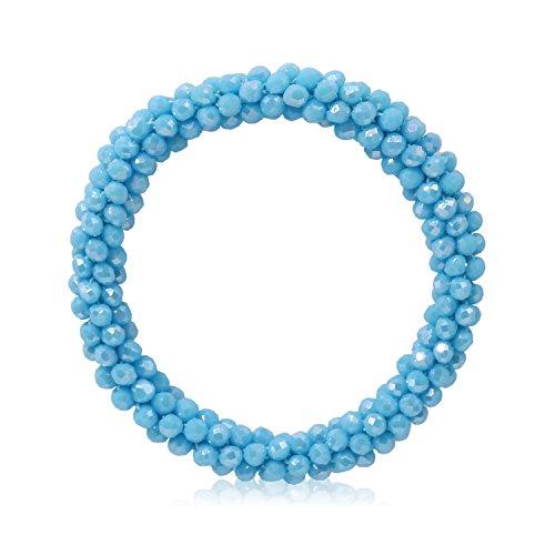 T-Doreen Blue Crystal Stretch Bracelet for Christmas Women Boho Gemstone Beaded Statement Bracelet
