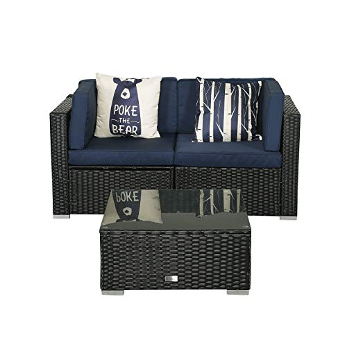 eclife Patio Loveseats Wicker Sectional Corner Sofa Rattan Outdoor Cotton Sofa Set (Navy Blue, Loveseat W/Tea Table)
