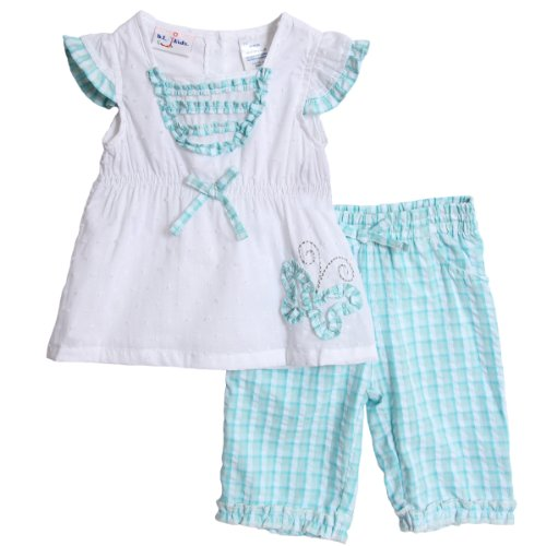 BT Kids Baby Girls' 2 Piece Turquoise Blue Butterfly Top Gingham Pants