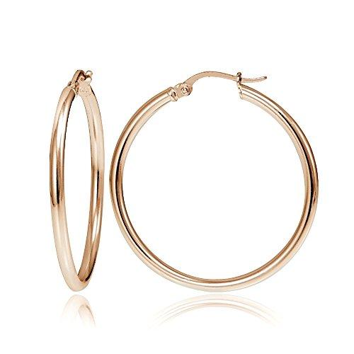Hoops & Loops Flash Plated Rose Gold Sterling Silver 2mm Polished Round Hoop Earrings, 30mm