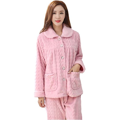 MOXIN flanella pigiami spessi signore a maniche lunghe calde e casuale abbigliamento invernale Autunno Rosa , 86344 red bean paste , xxl