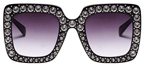 Oversize Square Frame Transparent Sparkling Crystal SunglassesFor Women (Black, - Frame Crystal Glasses