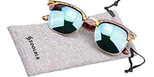 SOOLALA Clubmaster Classic Half Frame Semi-Rimless Rimmed Sunglasses, - Rimless Frames Branded