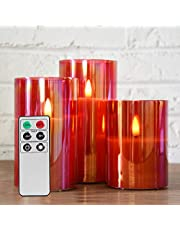 """Eywamage Red Glass Flameless Candles with Remote, Flickering LED Battery Candles Set of 3, Home Wedding Decor Seasonal Gifts D 3"""" H 4"""" 5"""" 6"""""""