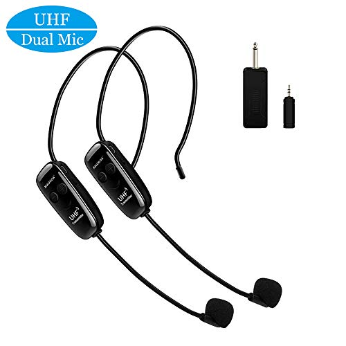 Wireless Microphones Headset, Dual UHF Wireless Mic, 2 Wireless Mics & 1 Receiver, Headset and Handheld 2 In 1 Rechargeable for Teaching, Voice Amplifier, Stage Speakers, PA System, Fitness Instructor
