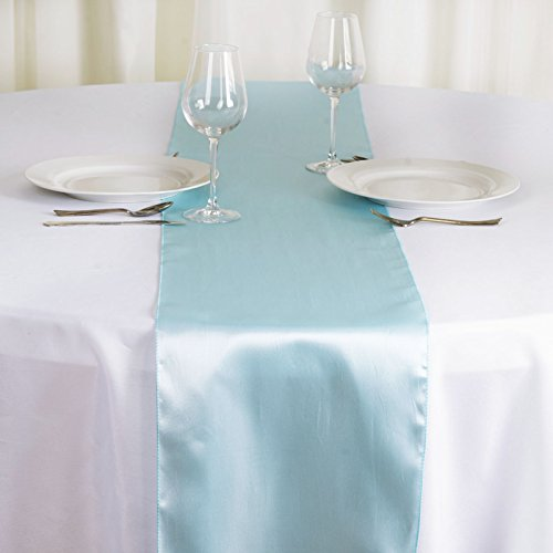 BalsaCircle 10 pcs 12 x 108 inch Light Blue Satin Table Runners Wedding Table Top Party Supplies Reception Linens Decorations