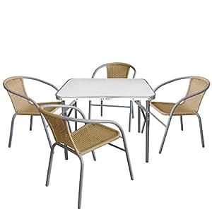 5piezas. Camping Muebles Juego de mesa plegable, estructura de aluminio, plástico placa de mármol Look, 75x 55x 60cm + 4x Bistro silla apilable ratán sintético, Beige, estructura de acero pulverizado, Gris.