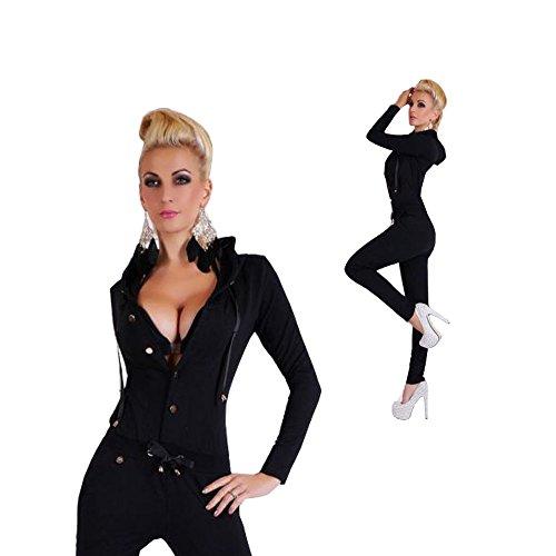 CRAVOG Damen Overall Jumpsuit Hausanzug Jogginganzug Fitness Anzug schwarz Kapuze NEU