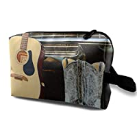 Lxianru Cowboy Boots Guitar Travel Cosmetic Bag,Lightweight and Convenient Personalized Custom Cosmetic Bag