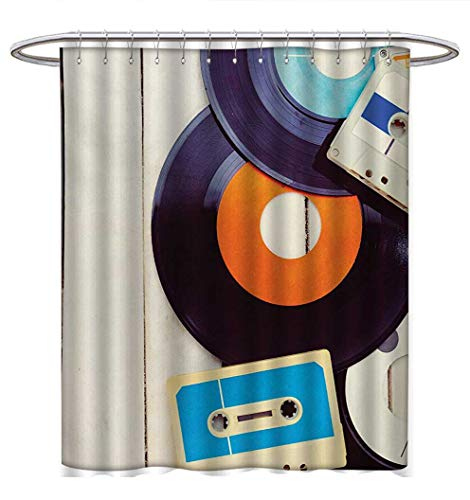 (Anhuthree Indie Shower Curtains Sets Bathroom Gramophone Records and Old Audio Cassettes on Wooden Table Nostalgia Music Bathroom Accessories W72 x L84 Blue Orange Black)