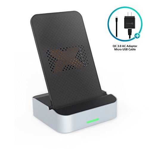Wireless Charger, AIKO 10W Fast Wireless Charger Stand with QC 3.0 AC Adapter, (7.5W) for iPhone X/8/8 Plus & (10W) for Samsung Galaxy S8 S9