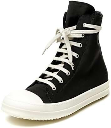Wiberlux Rick Owens Men's Cap Toe Lace-Up High Top Sneakers