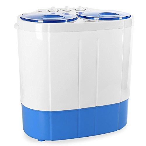 oneConcept DB003 Mini Camping Waschmaschine für Singles (Toploader, für 2kg Wäsche, 1340rpm, Geräuscharm) Weiß-Blau