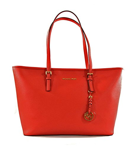 Michael Kors Jet Set Travel Top Zip Saffiano Leather Multifunction Tote Purse Handbag Shoulder Bag For Work School Office Travel (Dark Sangria)